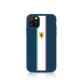 Ferrari ® Apple iPhone 11 Pro Max Liquid Silicon with Contrast White Stripe Velvet-Touch Silk Finish Shock-Proof Back Cover