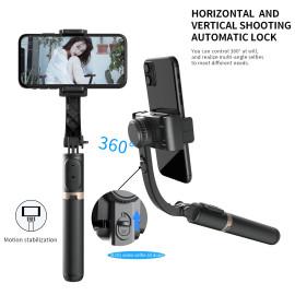 Vaku ®  3-in-1 Gimbal One Axis Stabilizer Selfie Stick Tripod Wireless Aluminum Alloy Foldable Selfie for Vlog Smartphone - Black
