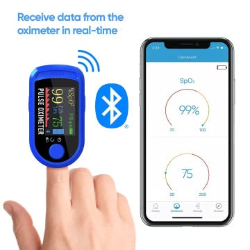 Vaku Luxos ® Fingertip Pulse Oximeter with Bluetooth Connectivity & SpO2 Blood Oxygen Saturation Monitor, Four Directional LED Display Phone Control with Batteries