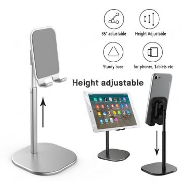 eller santé ® Mobile Stand for Desk, Angle Height Adjustable Cell Phone Stand, Aluminum Metal Phone Holder Compatible with All Mobile i-Pad, Tablet -Silver